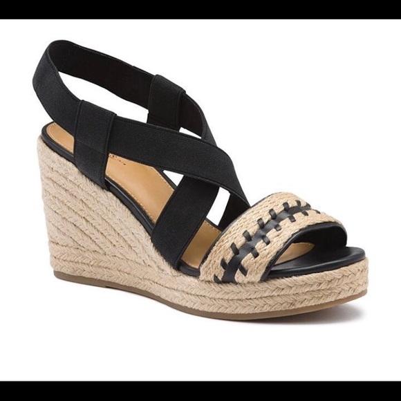 e4b35e1b1b0 GH Bass & Co Black Rylee Wedge Espadrille Sandals NWT